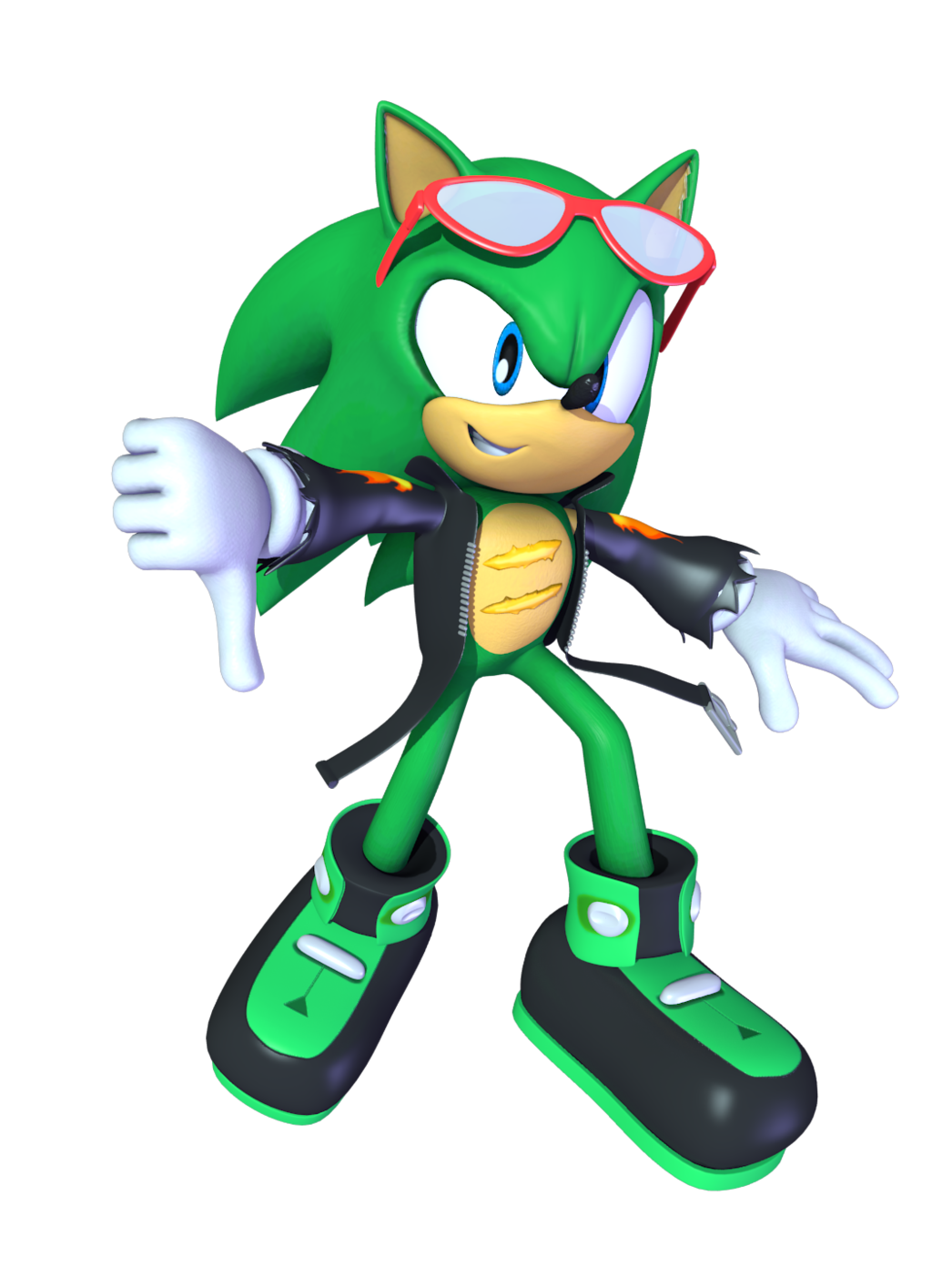 A 3D render of Scourge the Hedgehog but his scars are the wrong way xD