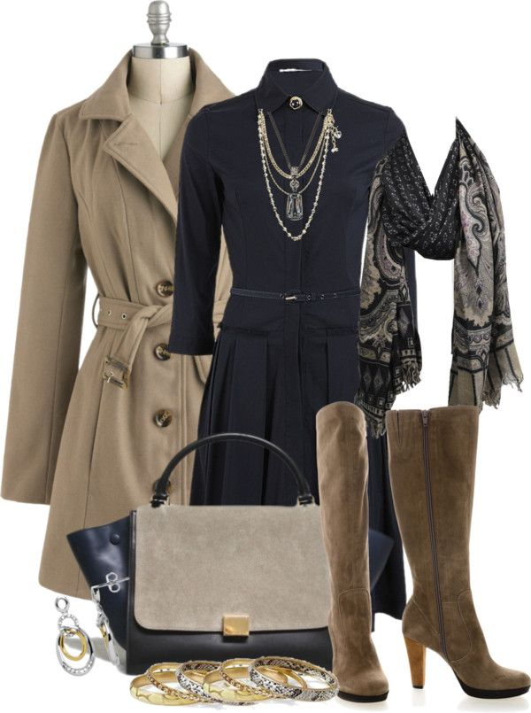"""""""Shirtdress Blue and Taupe"""" by stylesbyjoey on Polyvore"""