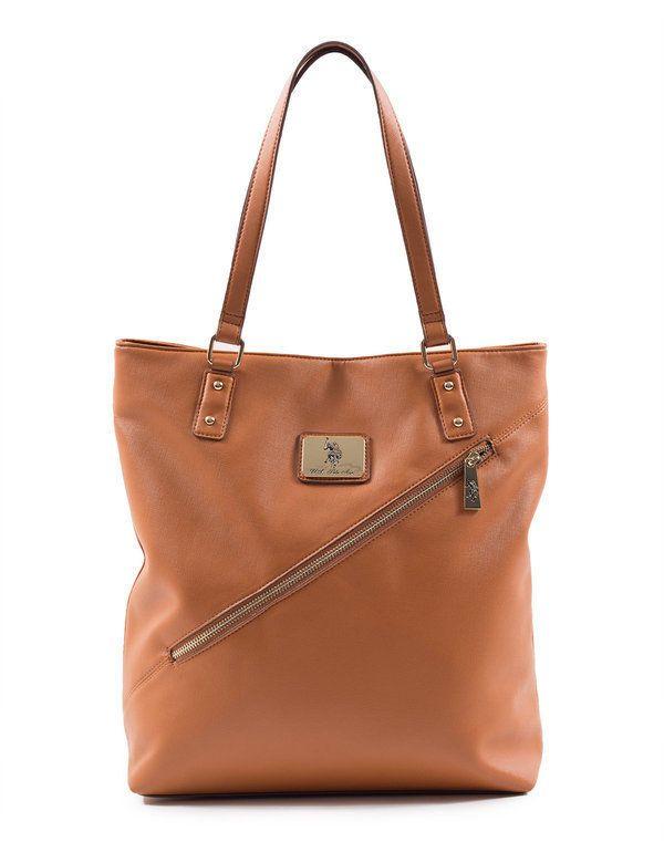 U S Polo Assn Women S Saffiano Diagonal Zip Tote Cognac Handbags Brown Handbag Tote Purses