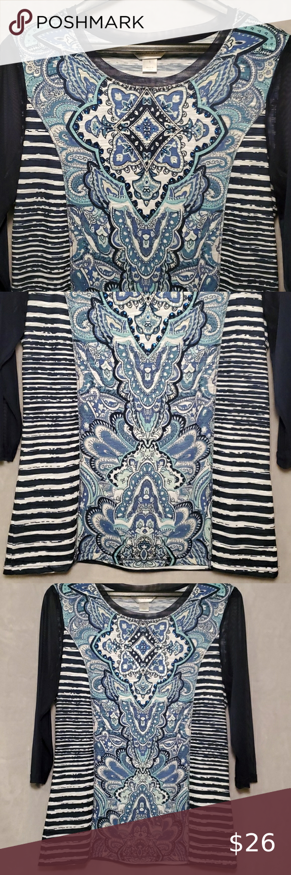 CHRISTOPHER & BANKS▪︎Top Like New! Beautiful top in white and navy stripes with blue paisley pattern down the front. Sequence on top. Sheer 3/4