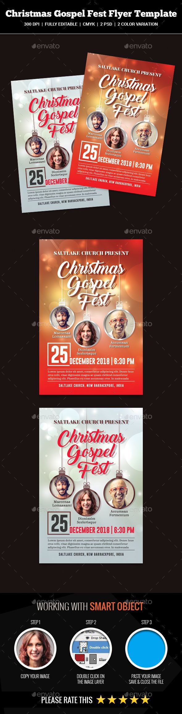 Christmas Gospel Fest Flyer Template Psd  Christmas Flyer
