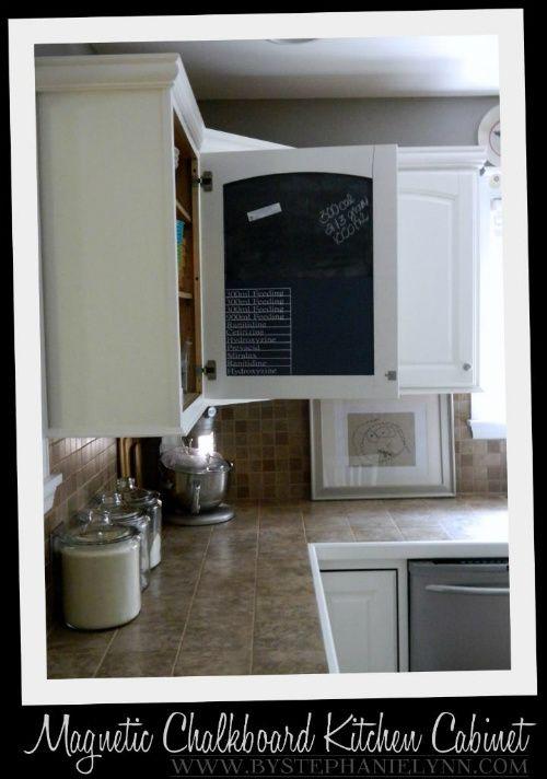 Kitchen Cabinet Door Magnetic Chalkboard Message Center  Magnetic Impressive Paint Inside Kitchen Cabinets Decorating Inspiration