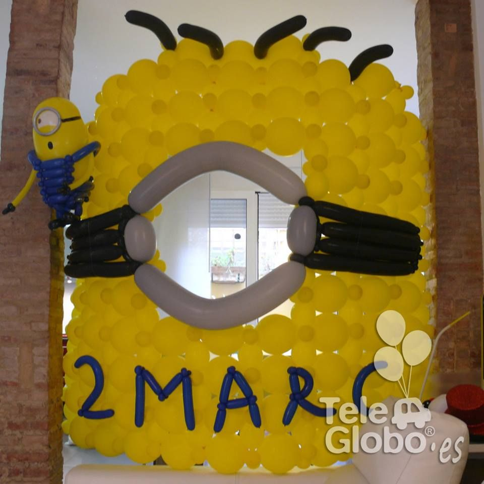 decoracin con globos para cumpleaos con minions detalle del photocall