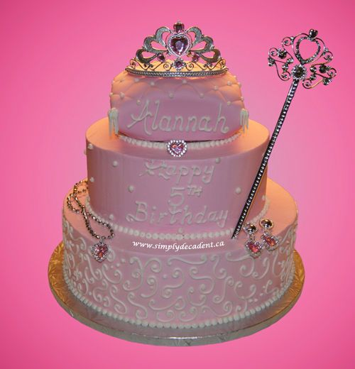 3 Tier Buttercream Princess Birthday Cake with Crown Wand Necklace