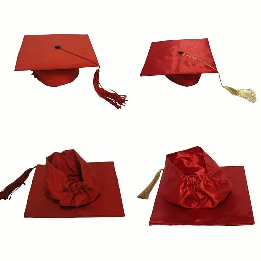 Spot The Differences Of Red Graduation Hats Red Polyester Matt Finish Red Satin Glossy Finish Graduation Red Graduation Graduation Gown Graduation Hat