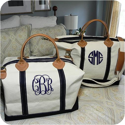 Monogrammed Navy Classic Satchel Duffle Weekender Bag | Monogram ...