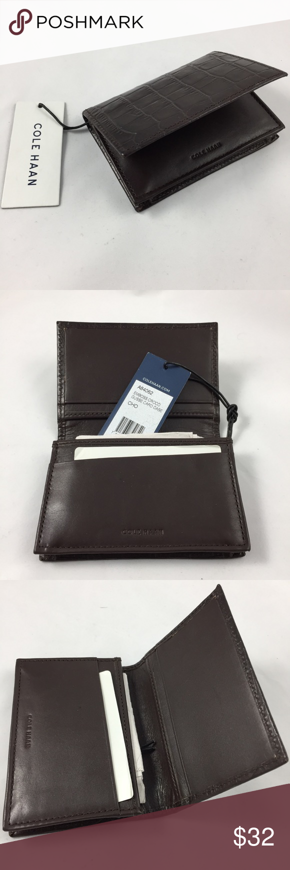 NWT Cole Haan Embossed Croc Gusseted Card Case NWT | Card case, Cole ...