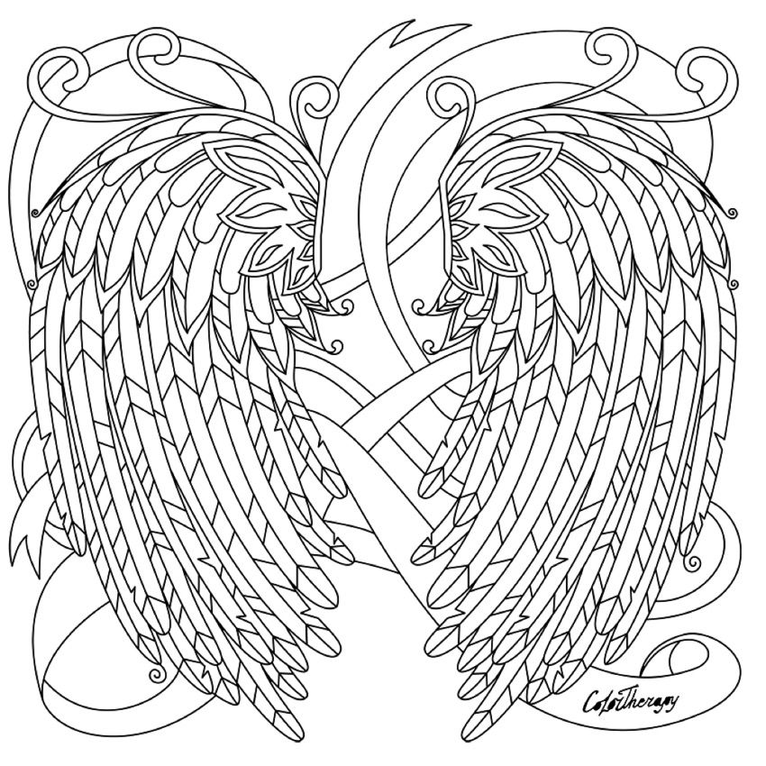 Angel Wings Coloring Page Colortherapyapp Coloring Pages Angel Coloring Pages Animal Coloring Pages