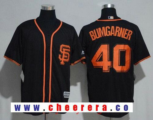 Men's San Francisco Giants Madison Bumgarner #40 Black Alternate Stitched MLB 2017 Majestic Cool Base Jersey