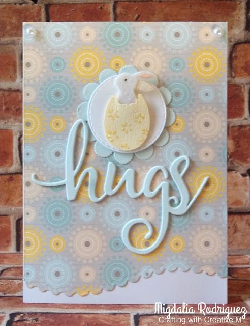 Crafting with Creative M: Sring/Easter cardd using the Scallop Waves Dies & Hugs Dies from Pink & Main.