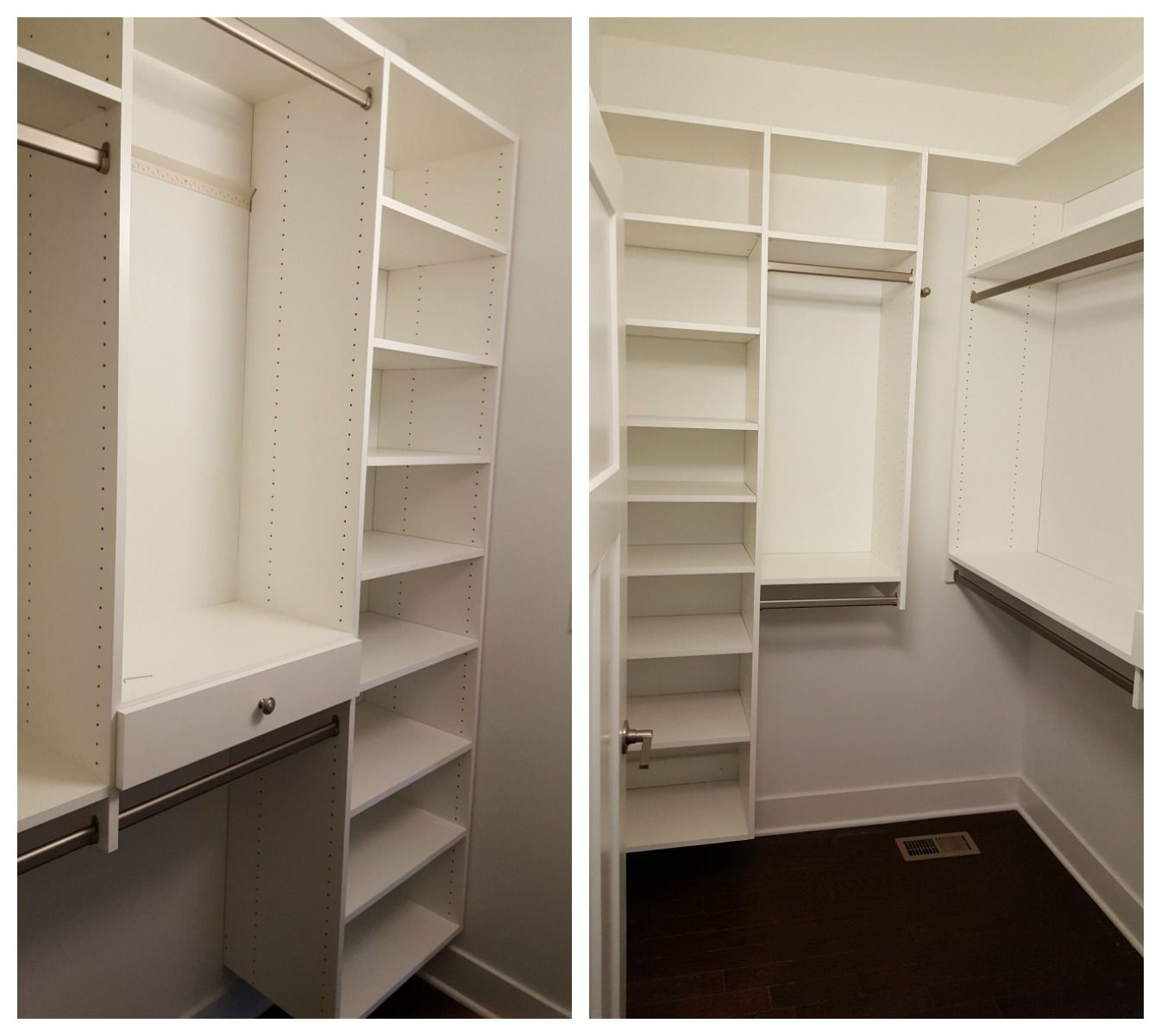 White Melamine Closet With Adj Shelves