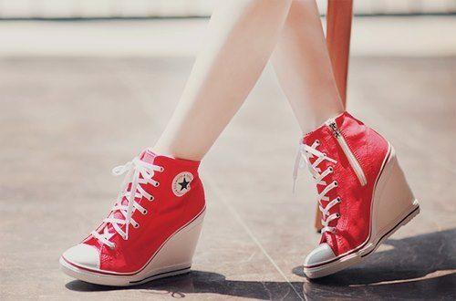 Red Wedge Converse | Sneaker heels