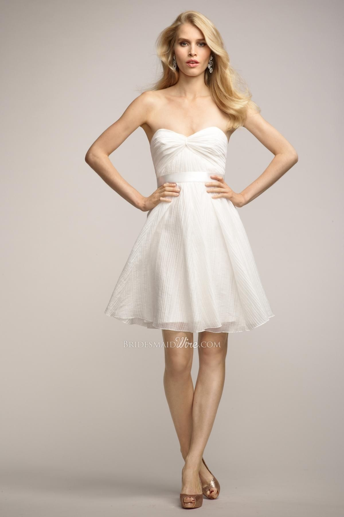 little white strapless twist neck above the knee-length bridesmaid ...