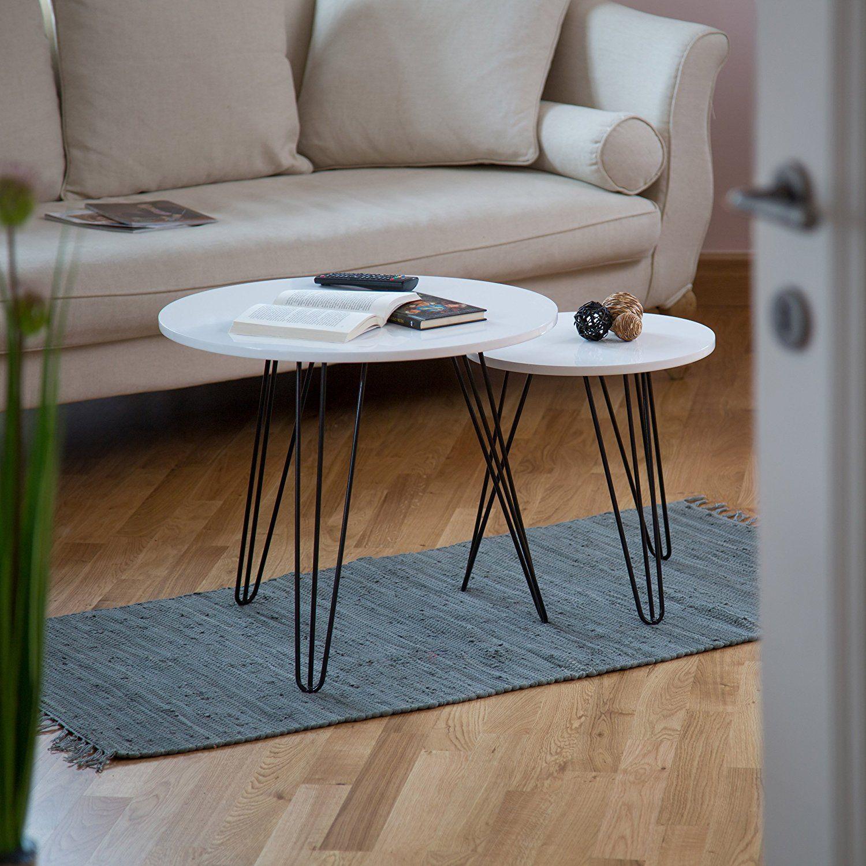 Wunderbar Relaxdays Beistelltisch Weiss 2er Set, Runder Dreibeiner, Holz Sofatisch  Für Wohnzimmer, HxD: 52 X 60 Cm, Glänzend Weiß: Amazon.de: Küche U0026 Haushalt