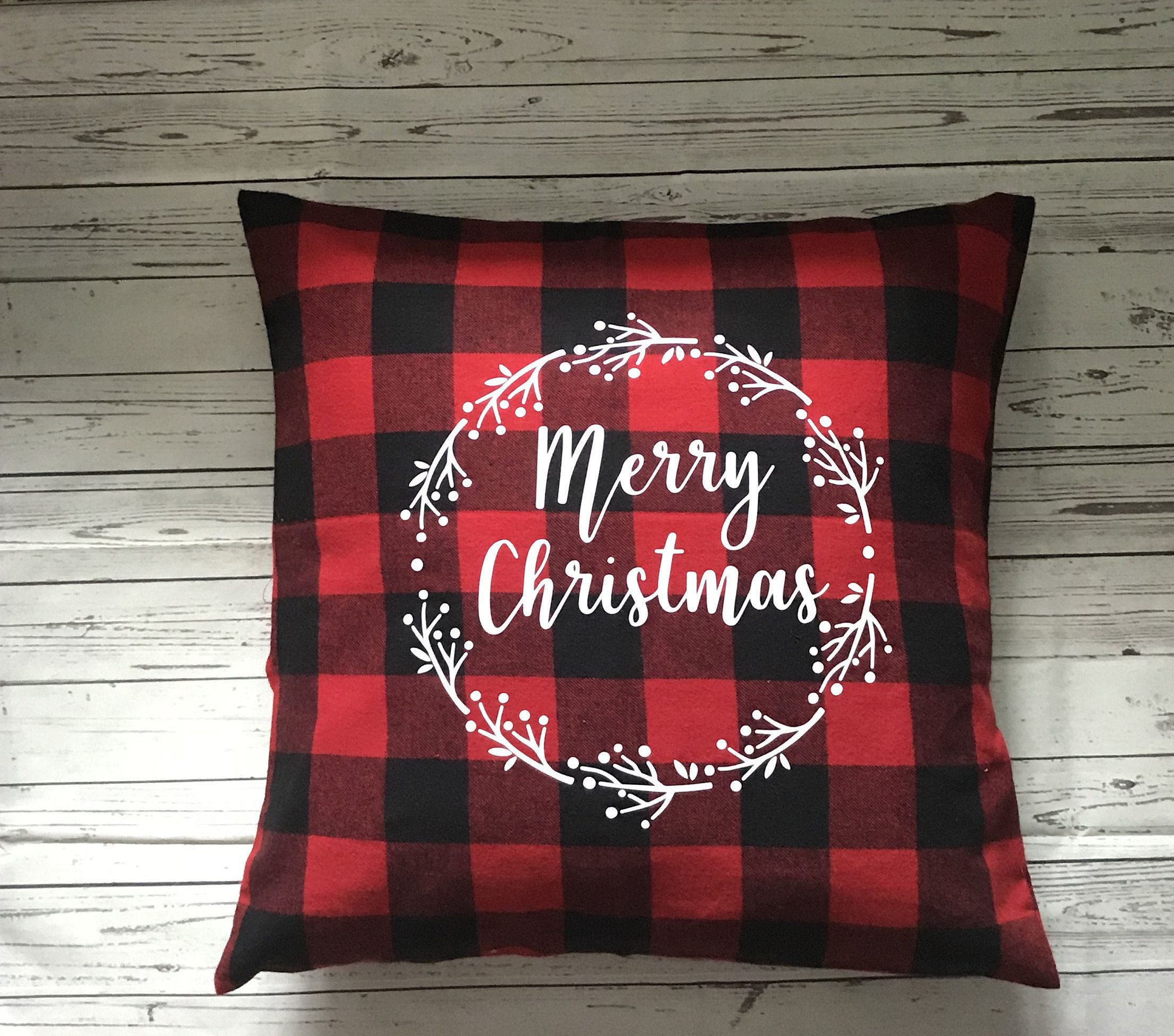 Throw Pillow Holiday Pillow Buffalo Check Farmhouse Plaid Pillow Red Black Gingham Merry Chris Holiday Pillows Throw Pillows Christmas Holiday Throw Pillow