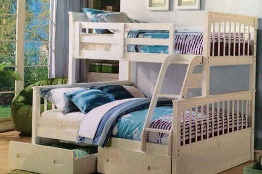 Bunk Bed Only Double Single Trio White Or A Oak Solid New