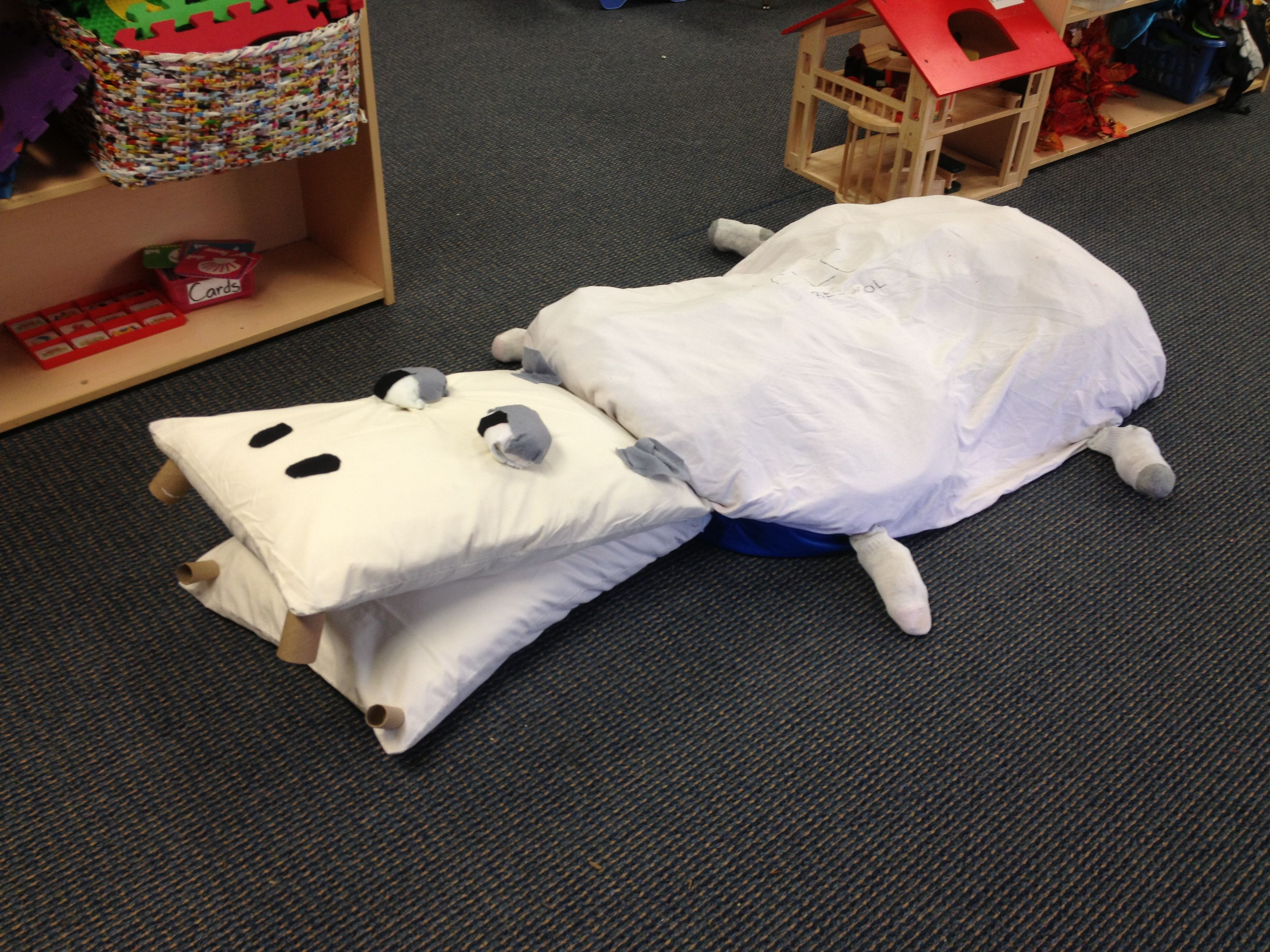 Preschool hippo two pillow cases sewn together and stuffed with