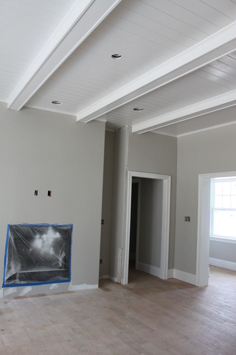 My pinterest inspired home beams ceilings and google Shiplap tray ceiling