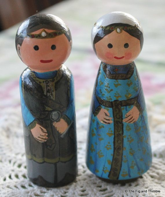 Prince and Princess Peg Dolls Set of Two  by TheFigandThimble