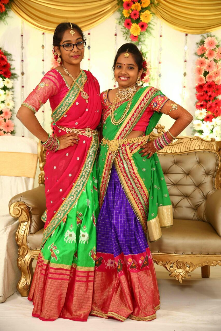 Ikkat Lehangas Ikkatlehangas Length 3 90 Meters With Include Blouse Body 3 Meters Blouse 90 Cm 46 Inches Skirts For Kids Half Saree Designs Half Saree