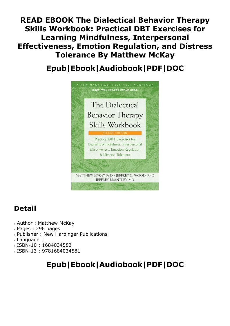 ^PDF^ The Dialectical Behavior Therapy Skills Workbook