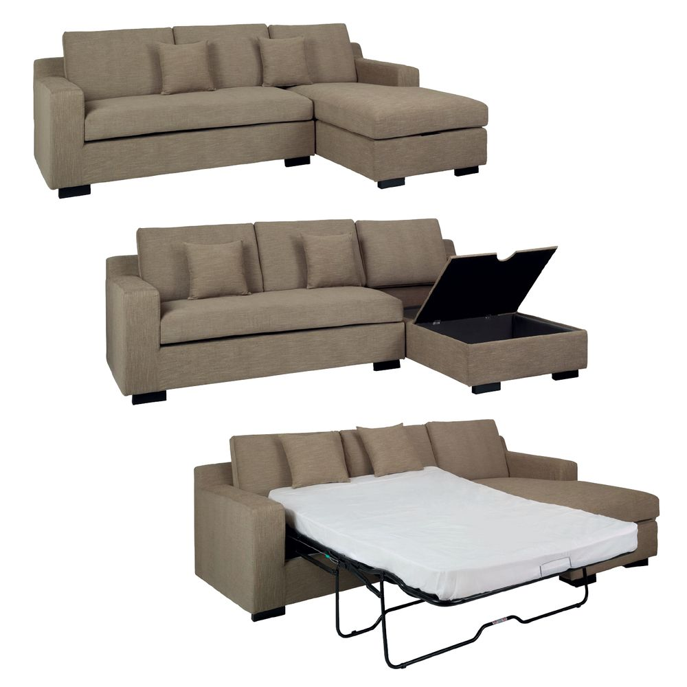 Living Room (right) Dwell   Milan Corner Sofa Bed With Storage Right Hand  Sand
