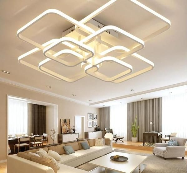 Layered Square Modern Led Chandelier Https Warmlydecor Com Collections Unique Chandelie Living Room Lighting Design Led Chandelier Modern Led Ceiling Lights