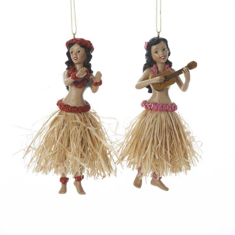 "Hawaiian Christmas Tree Topper: Kurt Adler 5"" Hula Dancer Christmas Ornament C8194"