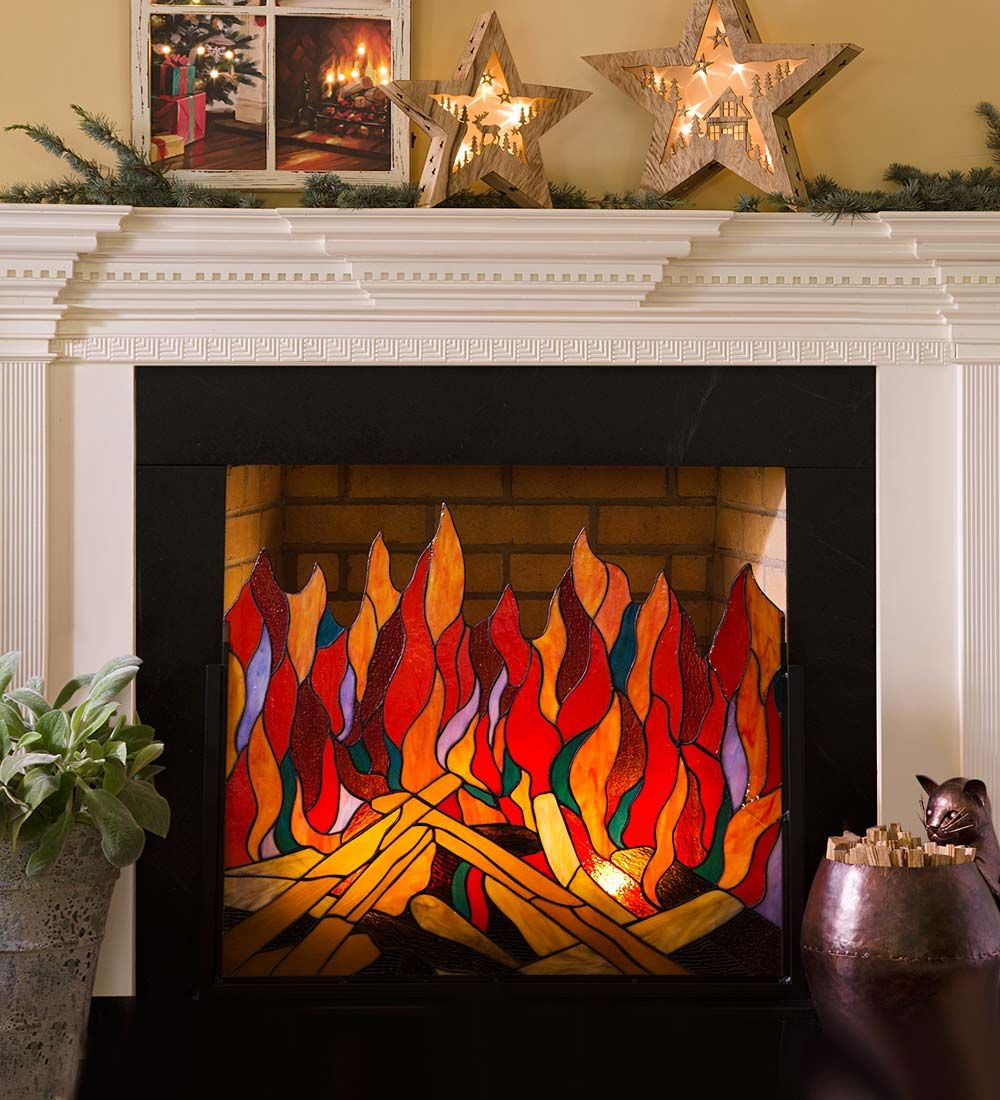stained glass roaring fire screen features 116 individual pieces