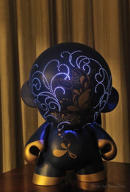 Mega Munny by pottstarr, features a 16-color remote controlled LED with multiple effects