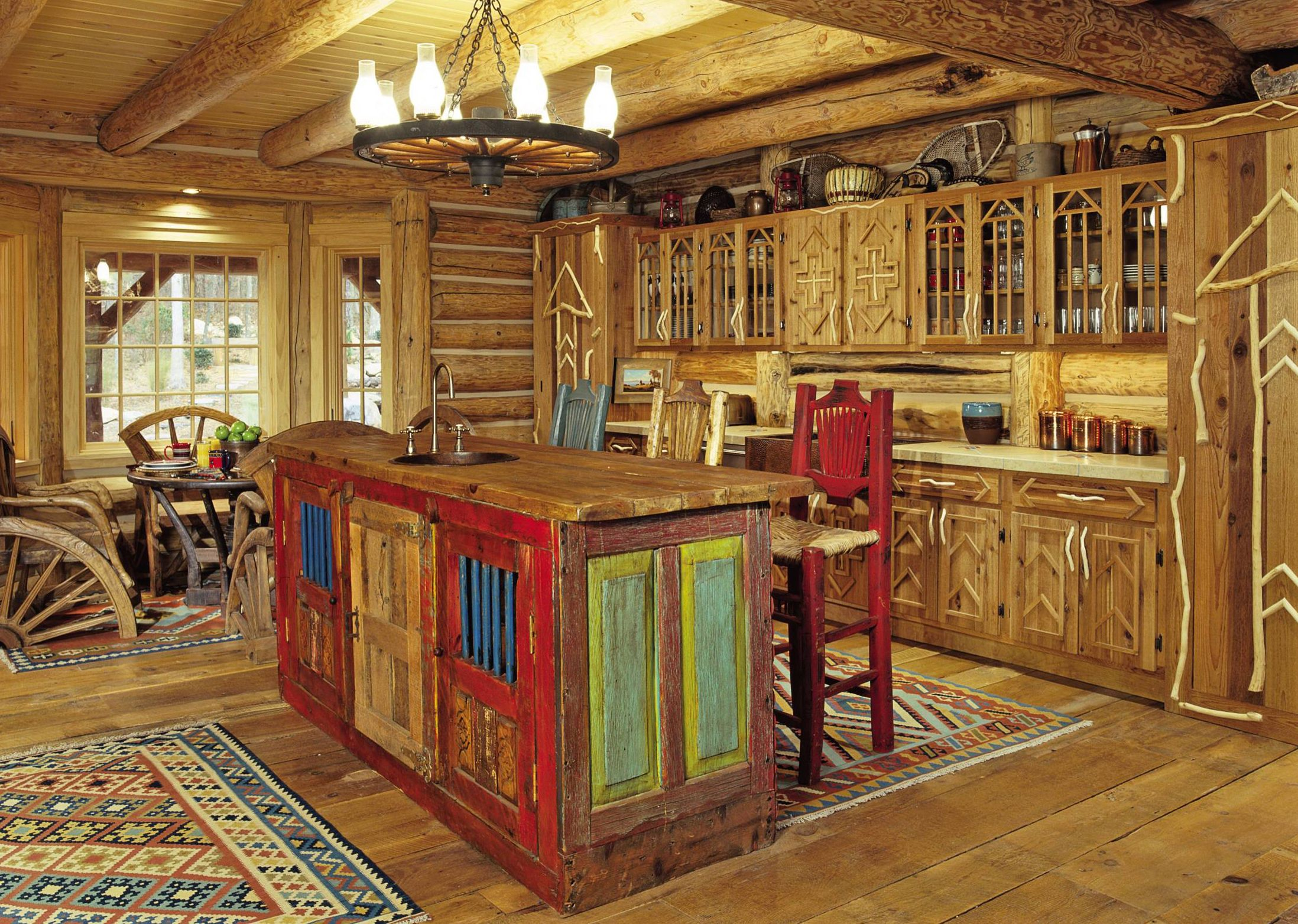 Rustic Kitchen Island Wooden Made Equiped by Sink