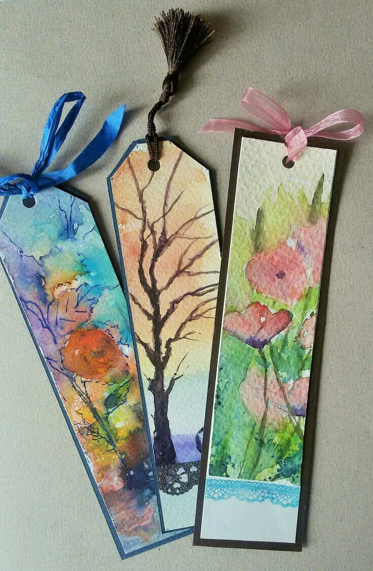 Nice Watercolored Bookmarks Bookmarks Handmade Watercolor