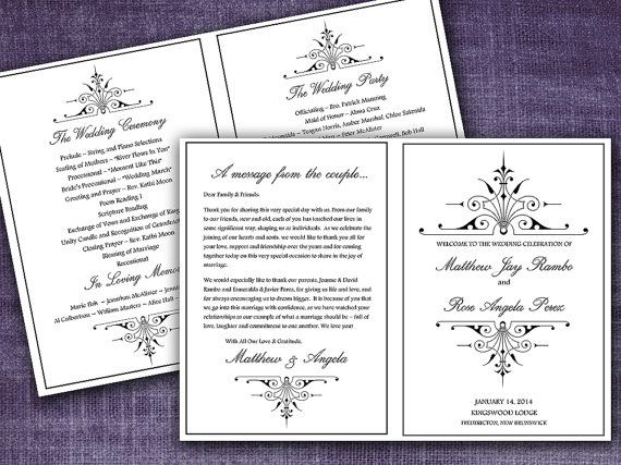victorian romance half fold wedding program template microsoft word classic black wedding program editable text any color size by paintthedaydesigns