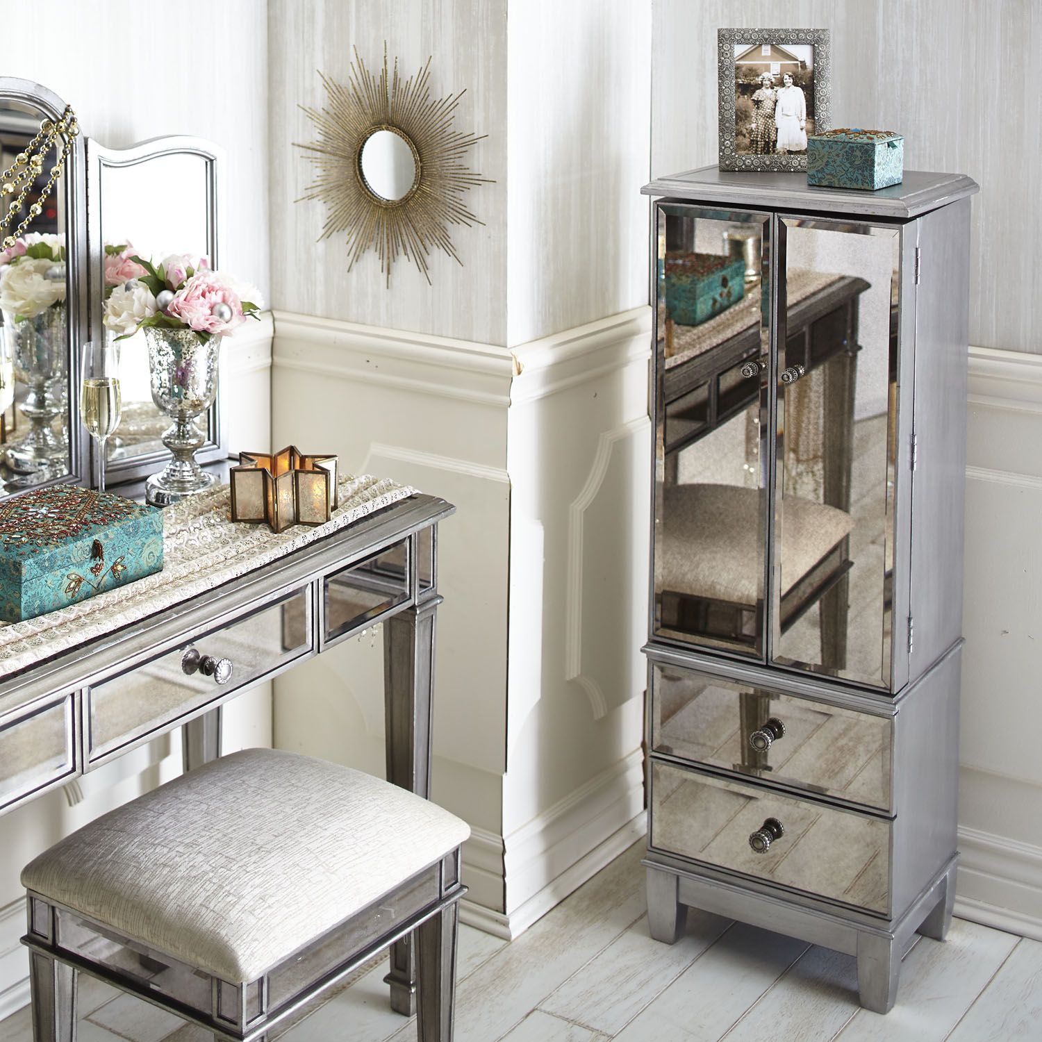 Hayworth Mirrored Silver Jewelry Armoire Furniture Mirrored