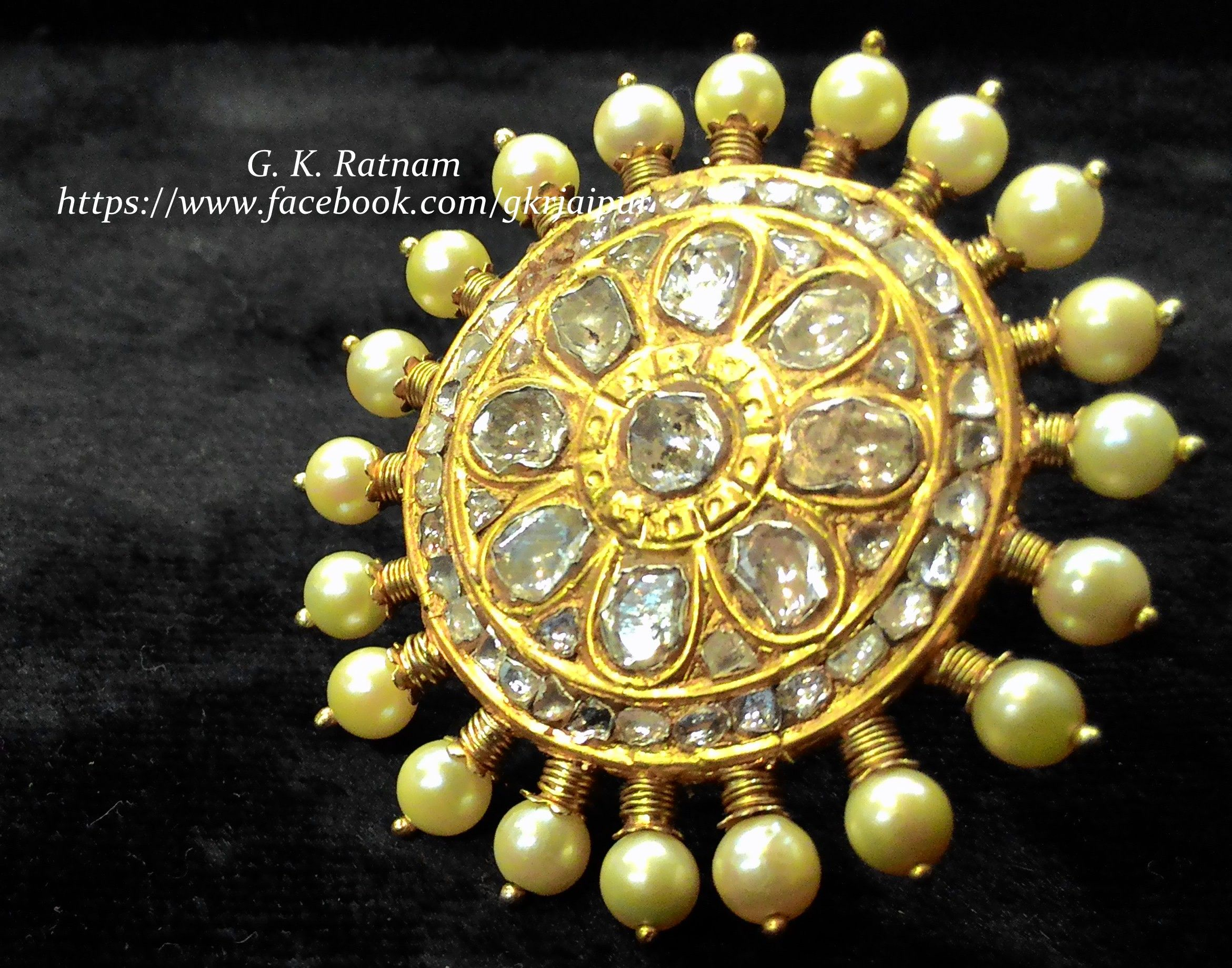 An Elegant Diamond Polki Cocktail Ring With Double Coated Pearls  Kundan  Meena Jewelry  Bridal