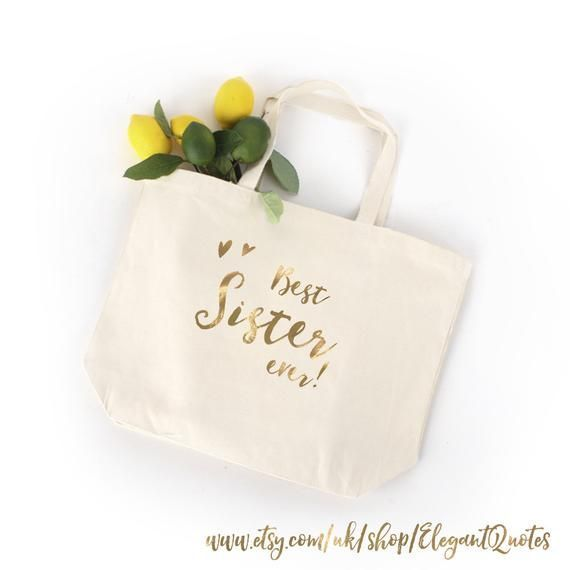 Sister gift  100 cotton tote bag for sister with gold silver or black finish christmas gift  Sister gift  100 cotton tote bag for sister with gold silver or black finish...