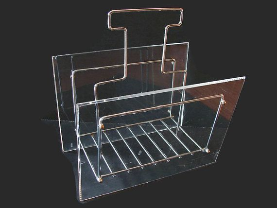 Chrome And Lucite Magazine Rack MCM Acrylic By PJsParadise On Etsy Awesome Lucite Magazine Holder