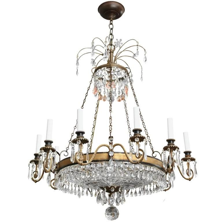 David Duncan Antiques 10 Light English Regency Style Chandelier W Cut Crystal Dish Inset In Bronze Frame C 1850 44 H X 26 Dia