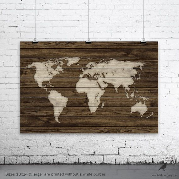 World Map Wood Wall Art world map poster, rustic map poster, rustic decor, rustic wall art