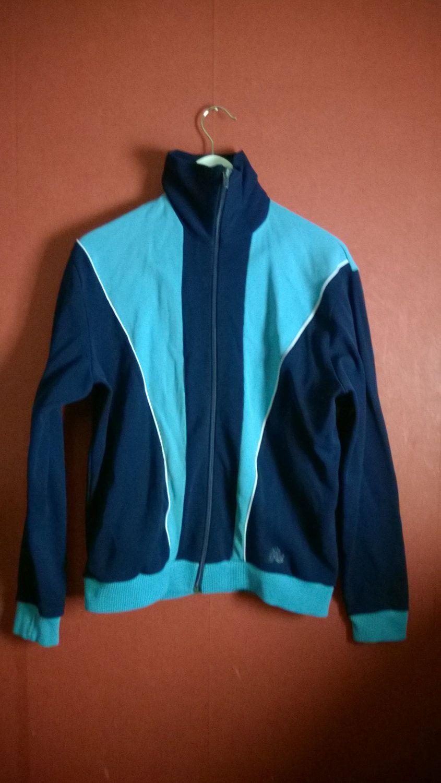 57433738c15 Vintage 70s Track Jacket Blue Colorblock Zip Up VINTAGE 70s Track JACKET  Men Small Mens Size 48 by VirtageVintage on Etsy