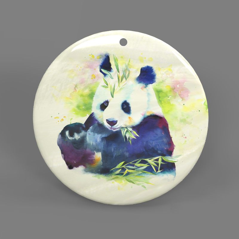 Color Printing Panda White Mother of Pearl Shell Pendant Necklace J1705 0096 #ZL #Pendnat