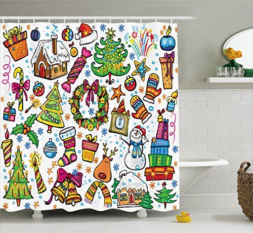 Christmas Shower Curtain By Ambesonne Cute Xmas Elements With Candies Snowman Fir Sweets Celebration Kids Nursery Theme Fabric Bathroom Decor Set Hooks