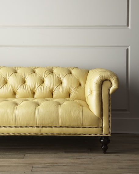 "Old Hickory Tannery - ""Fenway"" Tufted Leather Sofa.  love this buttery color"
