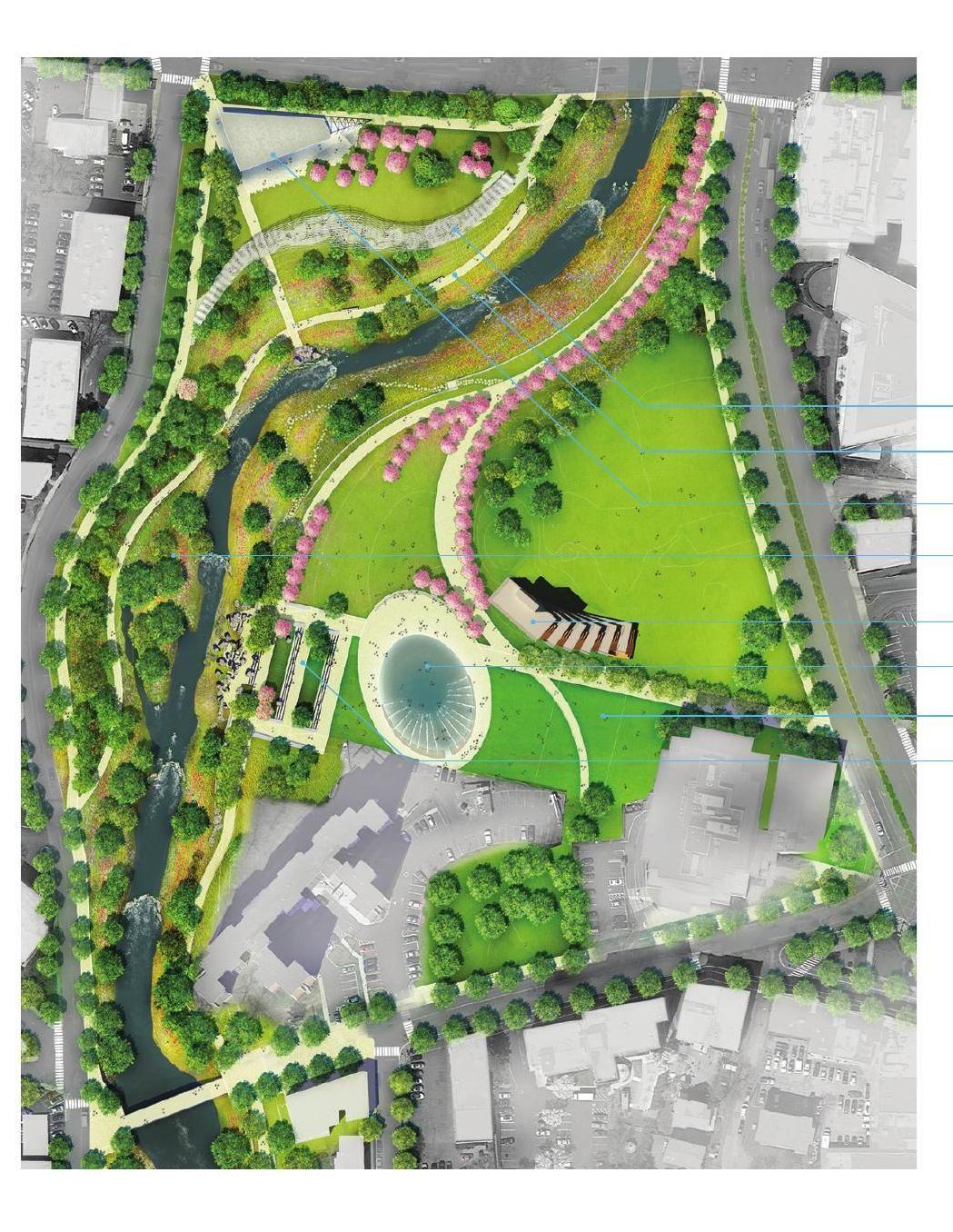 The Plan For Mill River Park River Park Landscape Architecture Park Urban Park