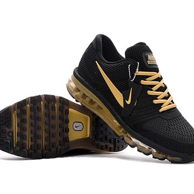 online retailer e13bb a9a85 Nike Air Max 2017 Men Black Gold Logo Running Shoes