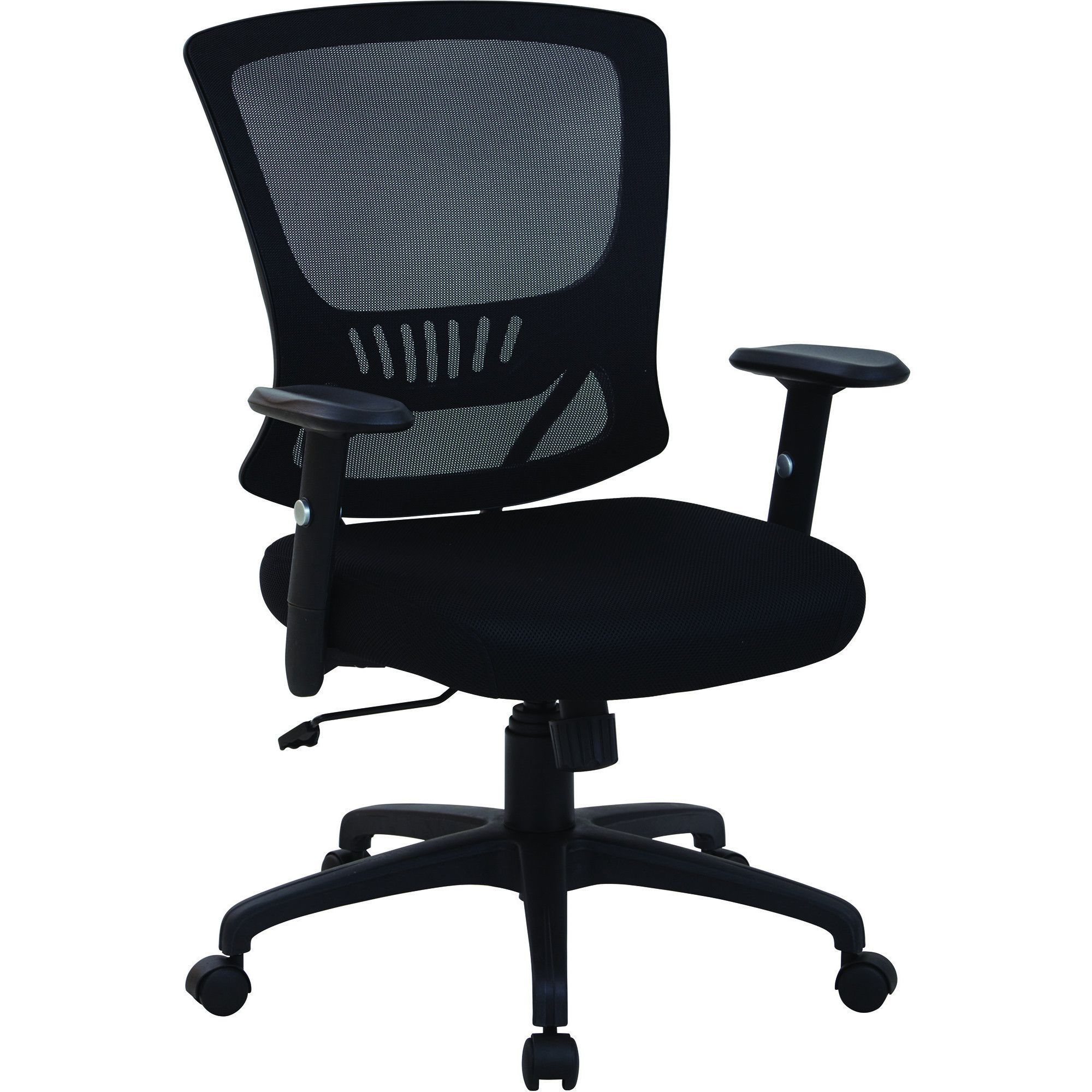 Work Smart Mid-Back Manager's Chair with Adjustable Arms, Black Mesh