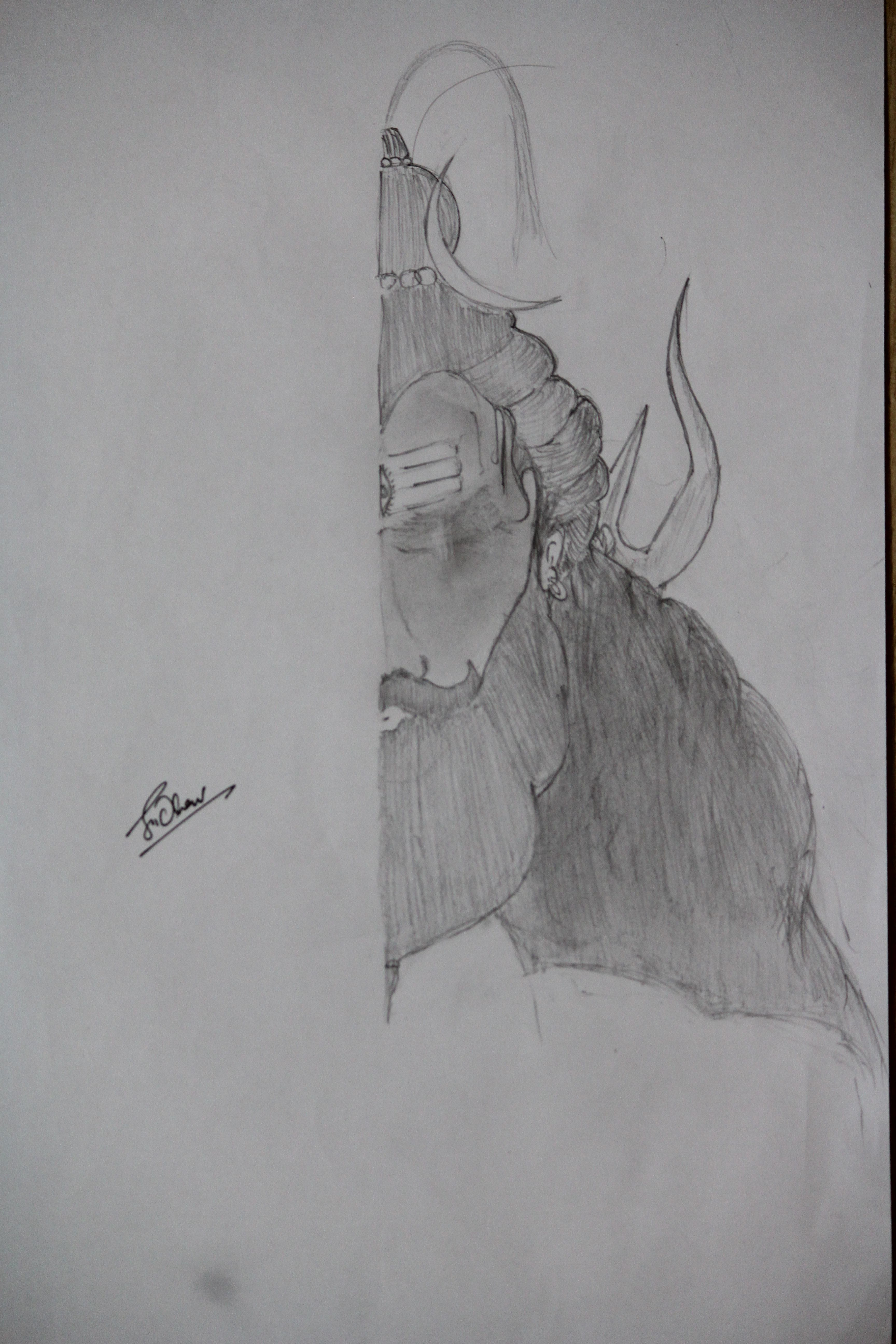 Shiva with beard shiva pencil drawings sketches art croquis kunst
