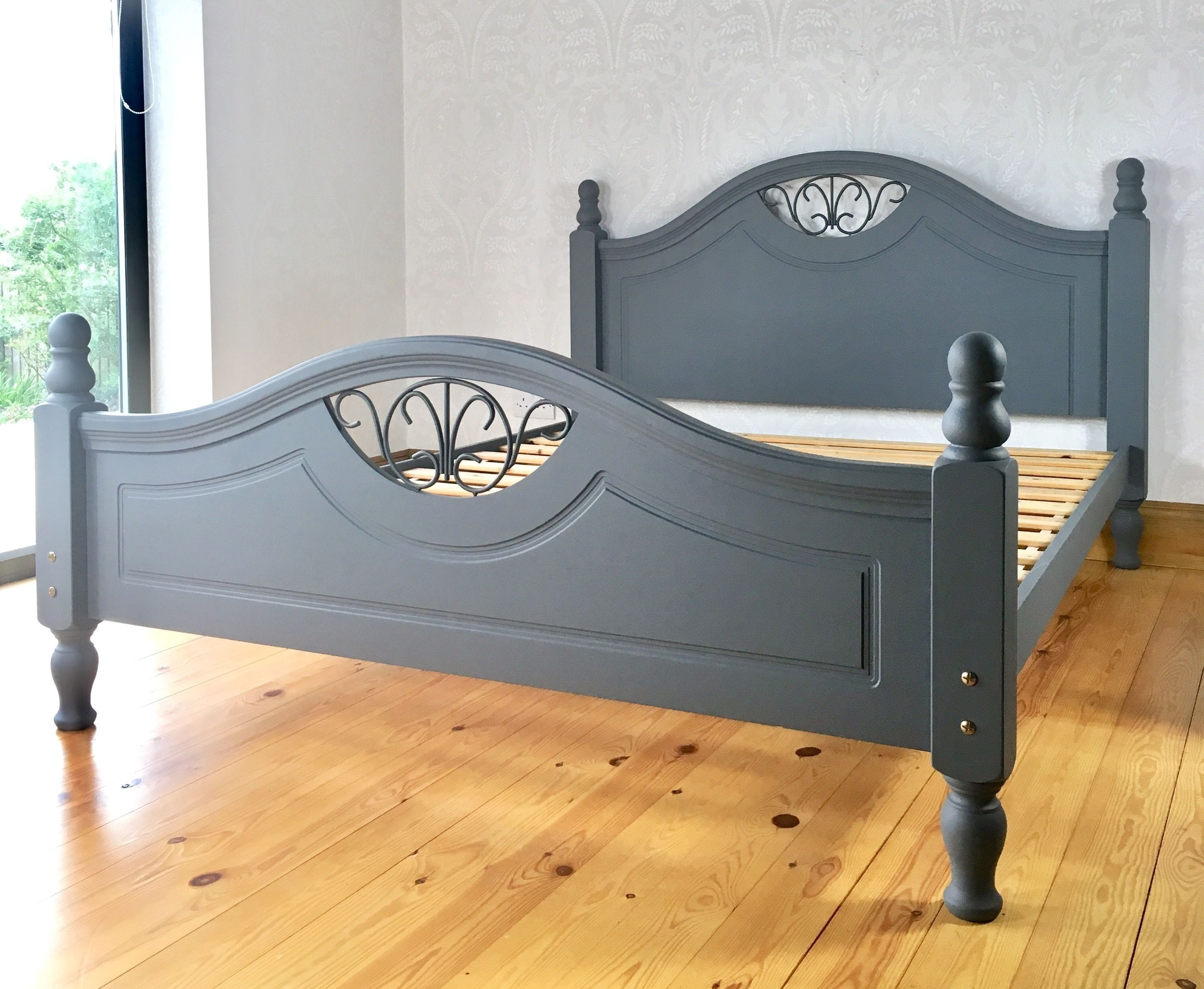 King Size Bed Frame Bedroom Furniture Solid Wooden Piece With Iron Fretwork Grey Design In 2020 King Size Bedroom Furniture King Bed Frame King Size Bed Frame