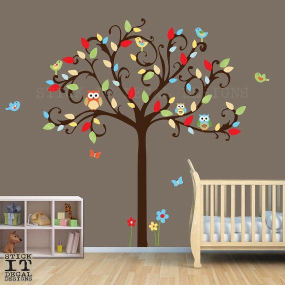 Owl Tree Decal Owl Decal Owl Nursery Decor Scroll Tree Nursery - Nursery wall decals gender neutral