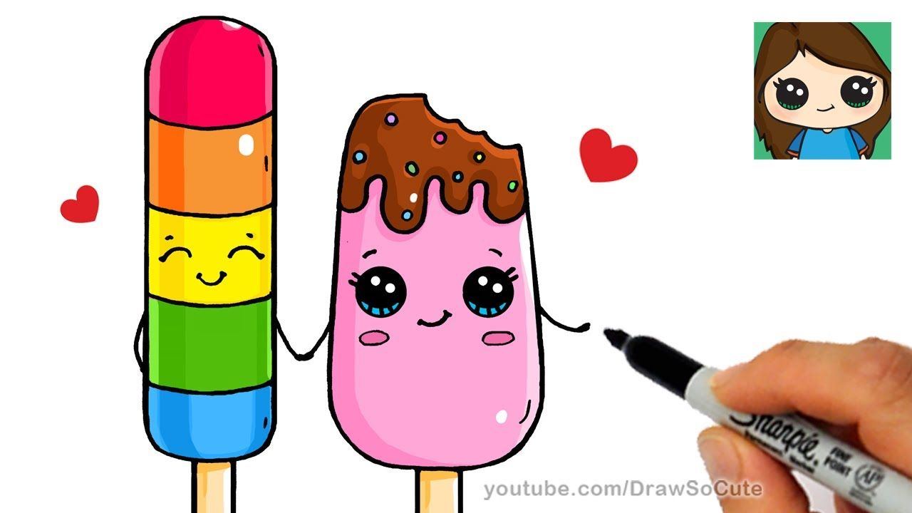 How To Draw Popsicles Easy Cute Kawaii Drawings Cute Little Drawings Cute Drawings
